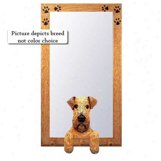 Irish Terrier Hall Mirror With Oak Golden Frame