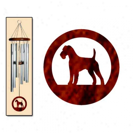 Irish Terrier Wind Chimes Medium Silver