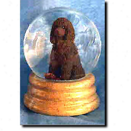Irish Water Spaniel Musical Snow Globe