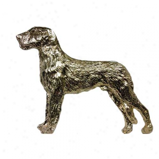 Irish Wolfhound Pin 24k Gold Plated