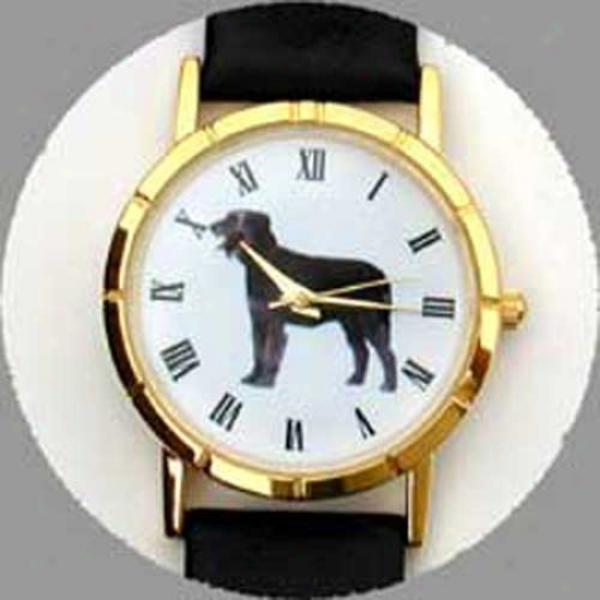 Irish Wolfhound Watch - Large Face, Black Leather