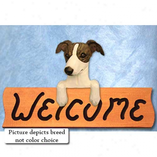 Italian Greyhound Fawn Welcome Sign Maple