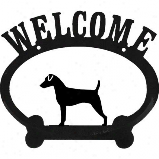 Jack Russell Metal Welcome Sign