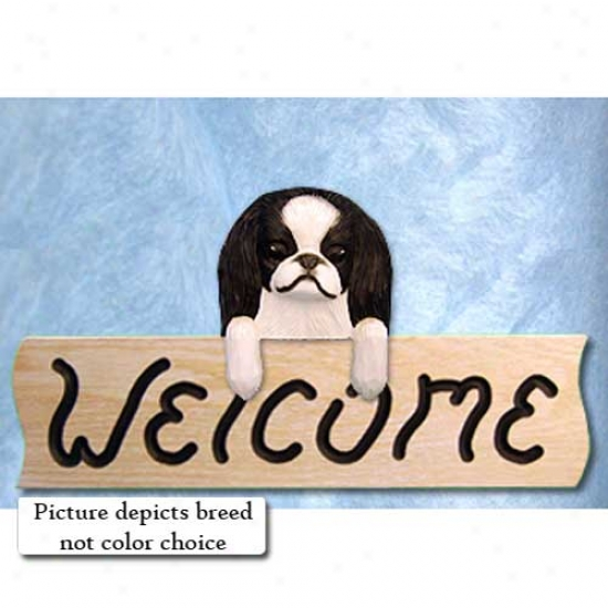Japanese Chin Red And White Welcome Token Oak