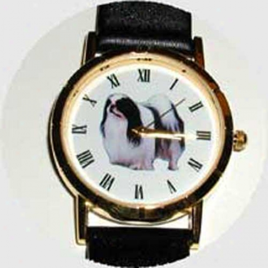 Japanese Chin Watch - Lagre Face, Black Leather