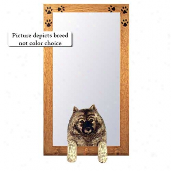 Keeshond Hall Mirror Attending Basswood Walnut Frame
