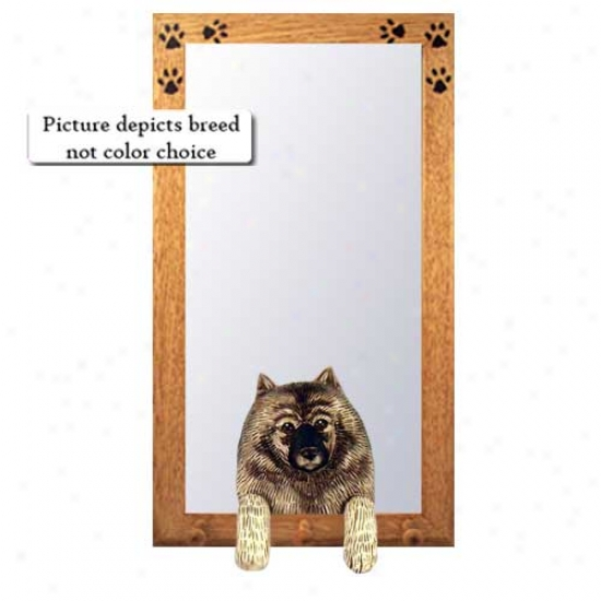 Keeshond Hall Mirror With Oak Golden Frame