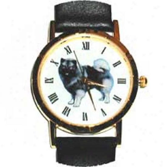 Keeshond Watch - Small Face, Black Leather
