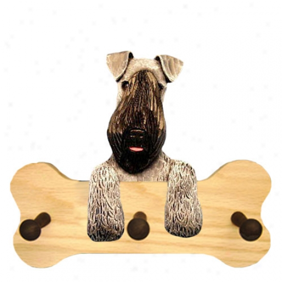 Kerry Blue Terrier Bone Hang Up Natural Oak