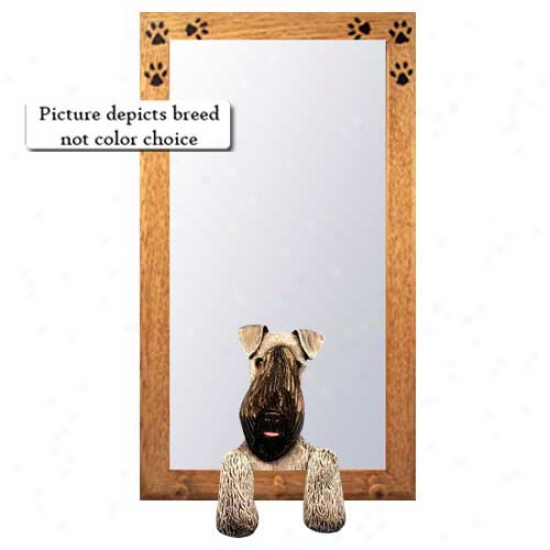 Kerry Blue Terrier Hall Mirror With Basswood Walnut Frame