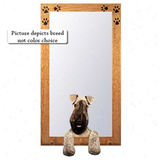 Kerry Blue Terrier Hall Mirrof With Oak Natural Frame