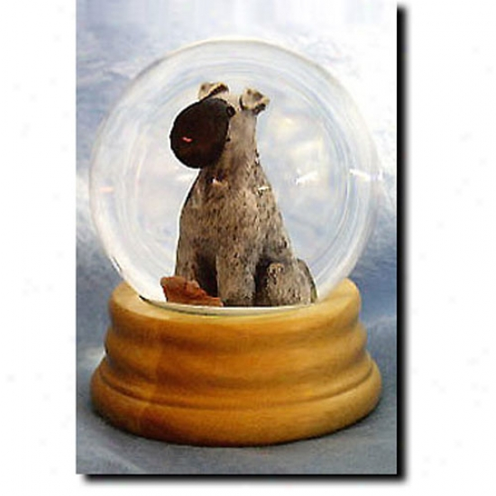 Kerry Blue Terrier Musical Snow Globe