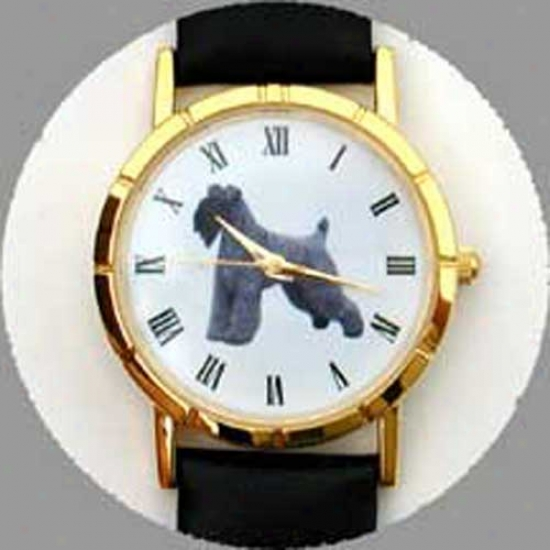 Kerry Blue Terrier Watch - Large Front, Black Leather