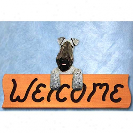 Kerry Blue Terrier Welcome Sign Maple
