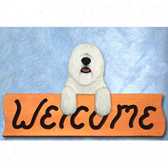 Komondor Welcome Sign Maple