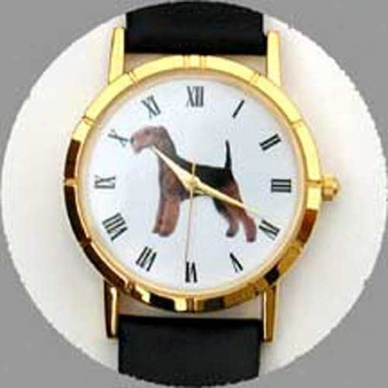 Lakeland Terrier Watch - Small Face, Black Leather