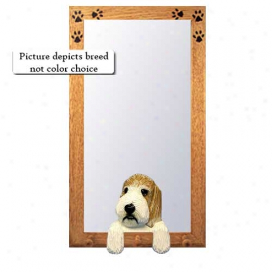 Lemon And White Petit Basset Griffon Vedeen Hall Mirror With Oak Golden Frame