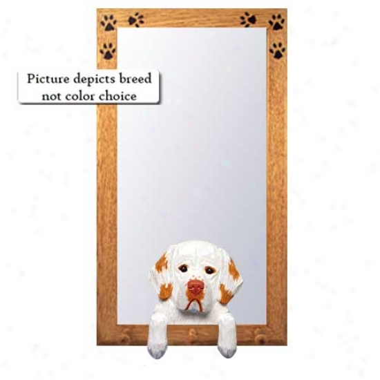 Lemon Clumber Spaniel Hall Mirror With Oak Natural Frame