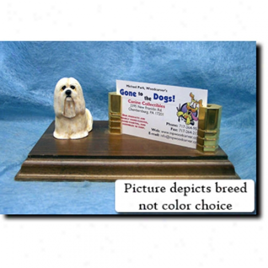 Lhasa Apso (silver Fawn) Business Card Holder