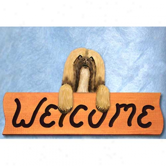 Lhasa Apso Silver Fawn Welcome Sign Ma0le