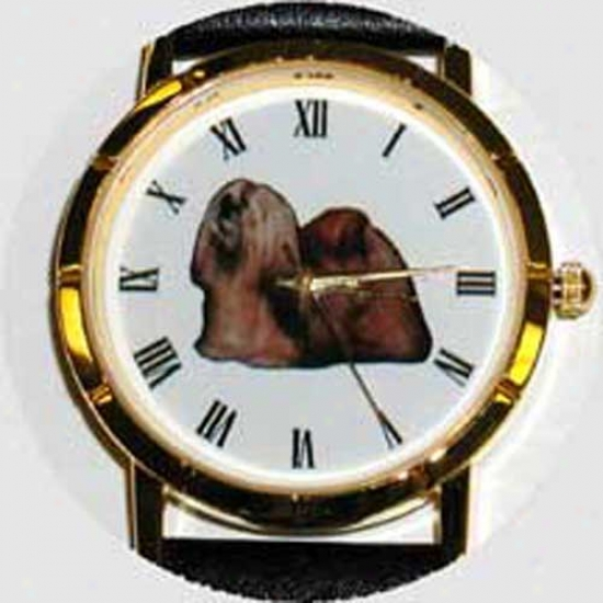 Lhasa Apso Watch - Small Face, Black Leather