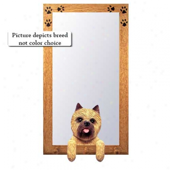Light Grey Cairn Terrier Hall Mirror With Basswood Walnut Frame