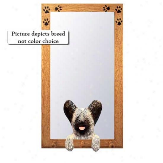Light Grey Skye Terrier Hall Mirror With Oak Golden Frame