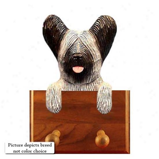 Light Grey Skye Terrier Leash Holder