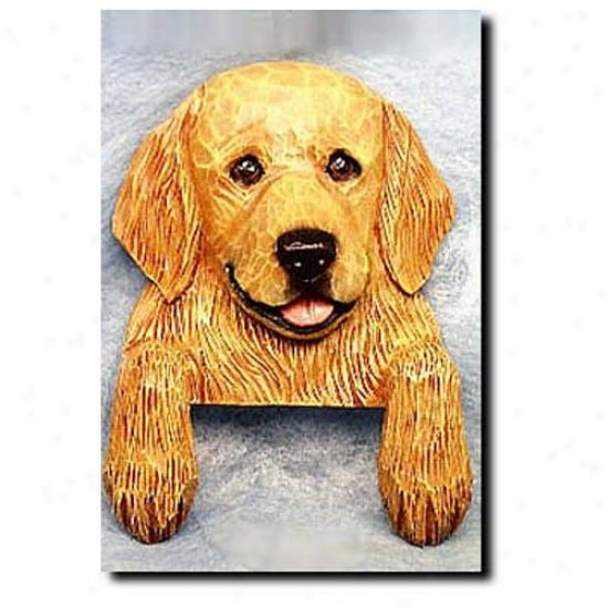 Light Angry mood Golden Retriever Door Topper