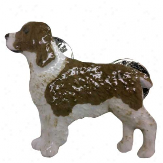 Liver And White English Springer Spaniel Hand Painted Pin
