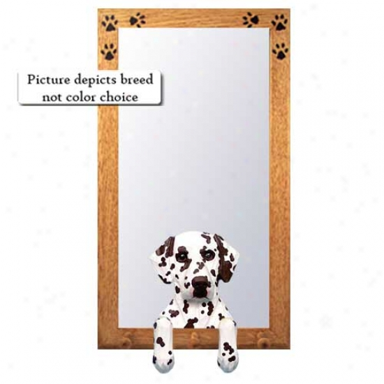 Liver Dalmwtian Hall Mirror Attending Oak Golden Frame