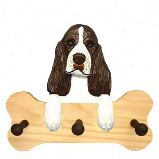 Liver English Springer Spaniel Bone Hang Up Natural Oak