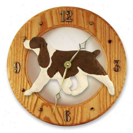 Liver English Springer Spaniel Wall Clock In Light Oak Through  Michael Park
