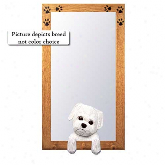 Maltese Hall Mirror With Basswood Walnut Frame Puppy Clip