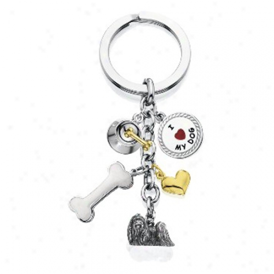 Maltese - I Love My Dog Keychain