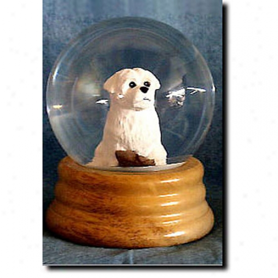 Maltese Melodious Snow Globe - Puppy Clip