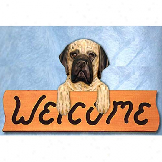 Mastiff Fawn Brindle Welcome Sign Maple