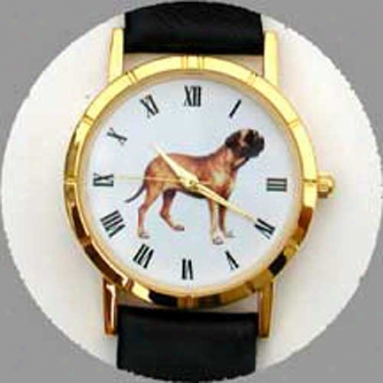 Mastiff Watch - Large Face, Black Leather