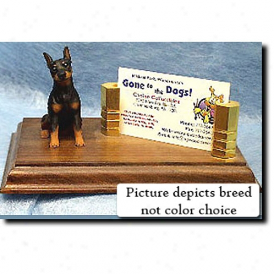 Miniature Pinscher (blue And Tan) Business Card Holder