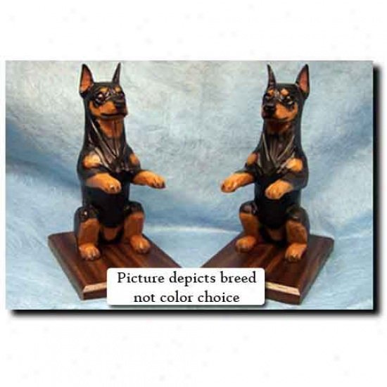Miniature Pinschee Bookends Chocolate And Tan