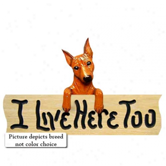 Miniature Pinscher I Live Here Too Maple Finish Sign Chocolate