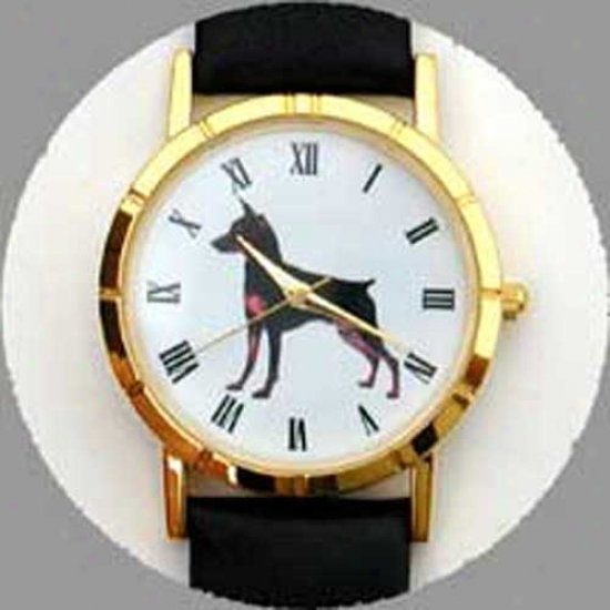 Miniature Pinscher Watch - Small Face, Black Leather