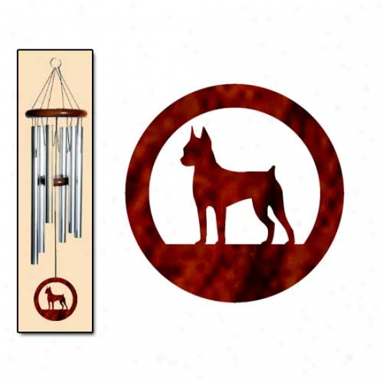 Miniature Pinscher Wind Chimes Medium Silver