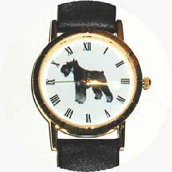 Miniature Schnauzer Watch - Small Face, Black Leather