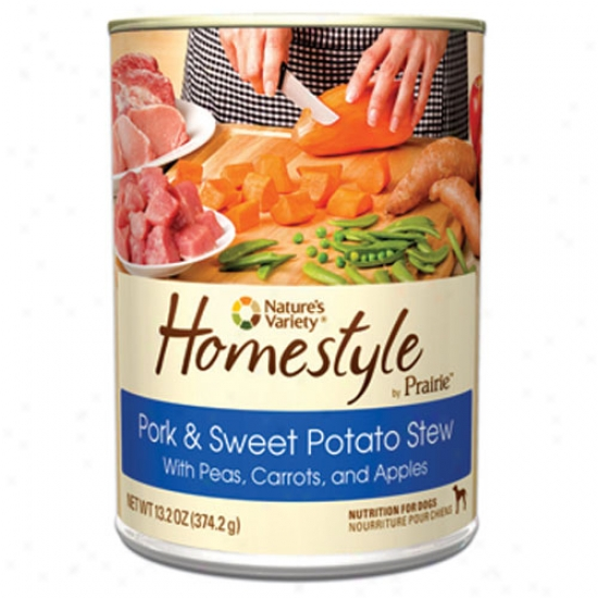 Natrues Variety Homestyle Prairie Pork-sweet Potato Dog Food Case-12 13.2oz Cans