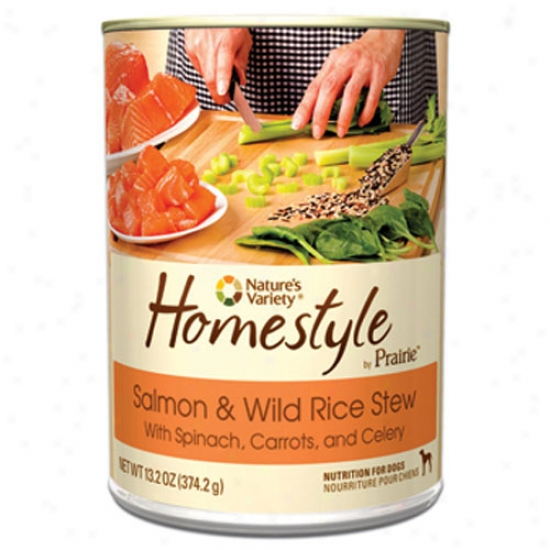 Natures Variety Homestyle Prairie Salmon And Rice Dog Food Csae-12 13.2oz Cans