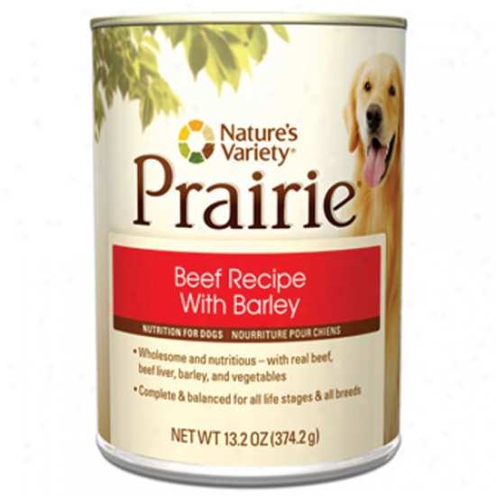 Natures Variety Prairie Beef Recipe With Barley For Dogs Case Of 12 13.2oz Cans