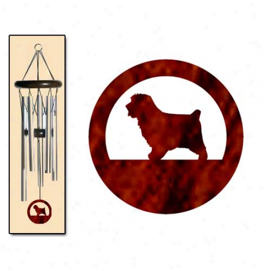 Norfolk Terrier Wind Chimes Small Sikver