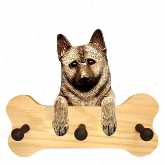 Norwegian Elkhound Bone Hang Up Naturak Oak