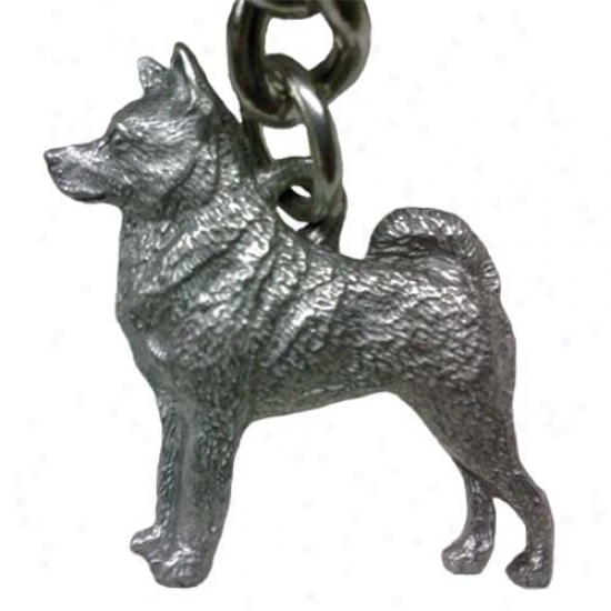 Norwegian Elkhound George Harris Pewter Keychain